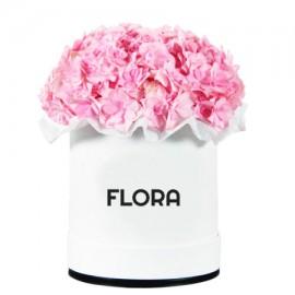 Шляпная коробка с розовыми гортензиями