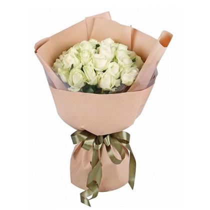 25 белых роз «Люкс»