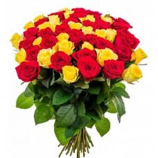 51 жёлтая и красная роза