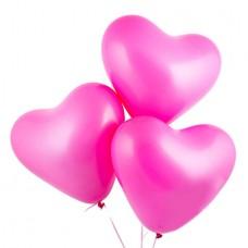 Воздушные шарики ярко -розовые сердца